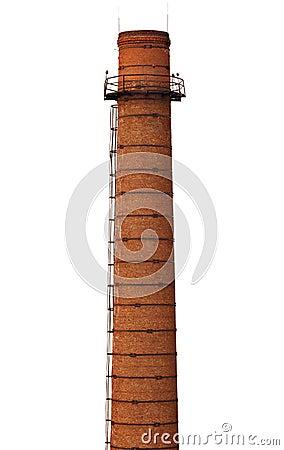 Free Old Brick Smokestack On White Stock Image - 28108311