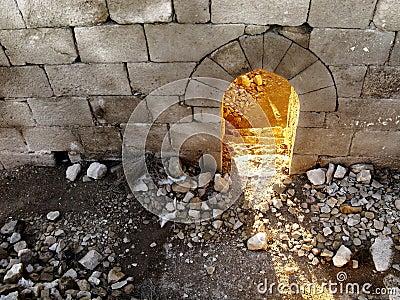 Old brick wall passage