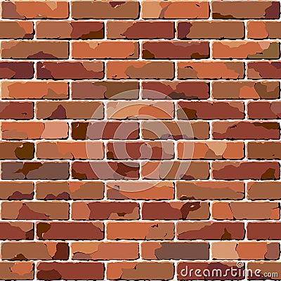 Old brick wall. Seamless illustration.