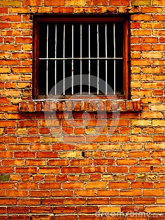 Free Old Brick Wall With Barred Windows Stock Photography - 32668252