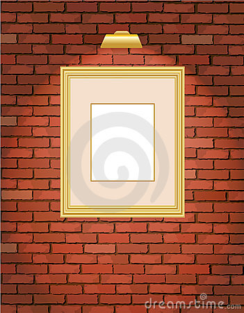 Free Old Brick Wall With Gold Frame Stock Photography - 13375022
