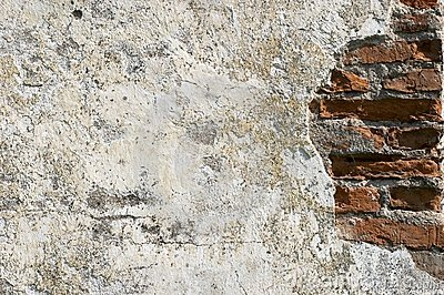 Old bricklaying, plaster