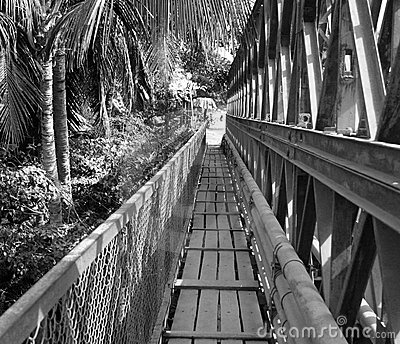 Old bridge across Mekong River, Luang Prabang,Laos