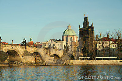Old bridge in city of Prague
