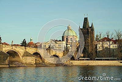 Old bridge in city of Prague