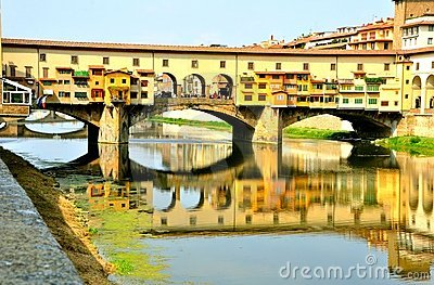 The old bridge view , Ponte Vecchio ,  Florence, Italy  Editorial Photography
