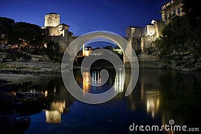 Old Bridge in Mostar at night, Bosnia Herzegovina