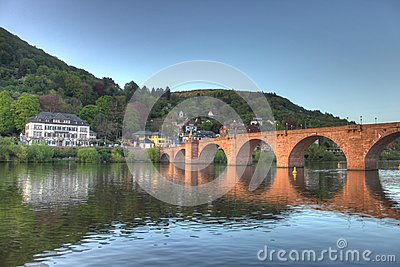 Old bridge on Neckar river in Heidelberg