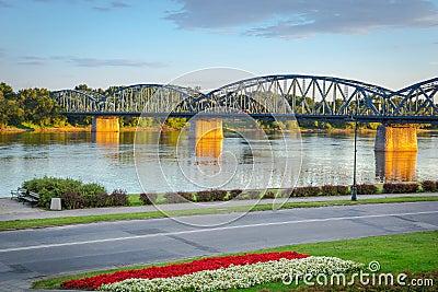 Old bridge over Vistula river in Torun