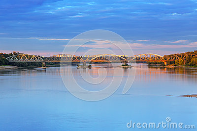 Old bridge over Vistula river in Torun