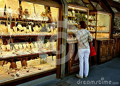 Old bridge shops in Florence, Italy Editorial Photography