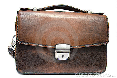 Old brief case on isolated background