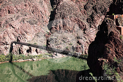 Old Bright Angel bridge over Colorado river