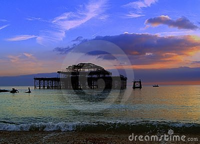 Old Brighton Pier sunset, England landscape