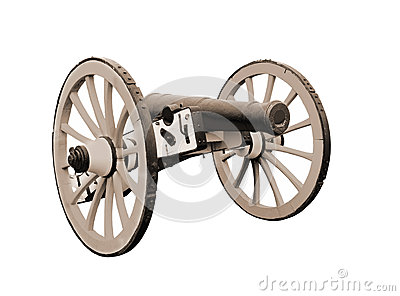 Old British field cannon isolated