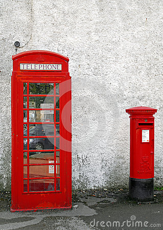 Old British Red telephone Box and Red Letter Box