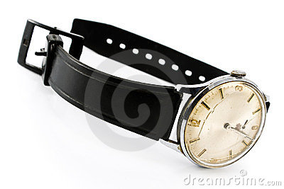Old broken wristwatch with black strap