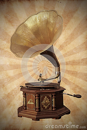 Old bronze gramophone