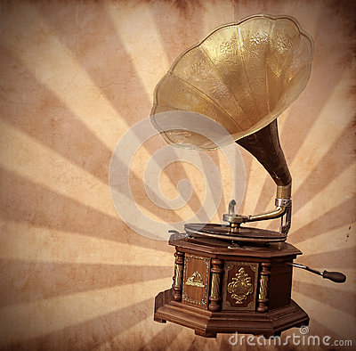 Old bronze gramophone on vintage