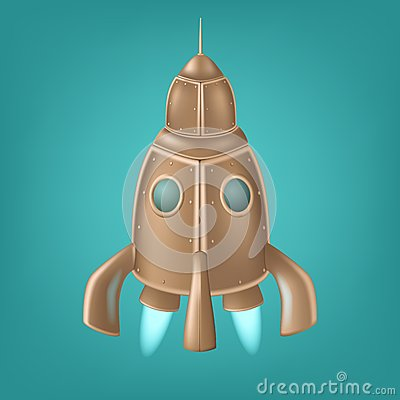 Old bronze rocket. Veector illustration