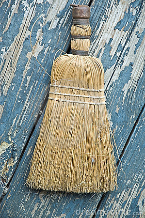 Old Broom on Painted Boards
