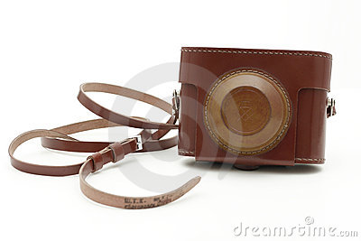 Old brown antique photo camera bag