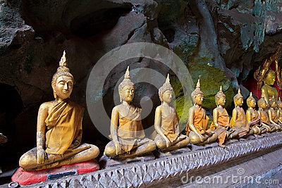 Old Buddha in a cave