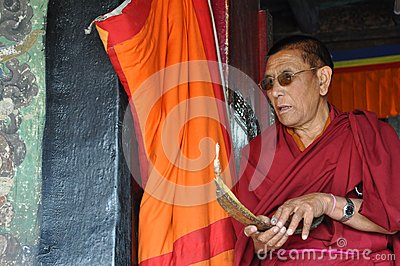 Old Buddhist monk from Little Tibet Editorial Photo