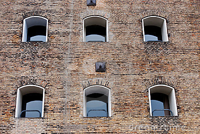 Old building facade with windows