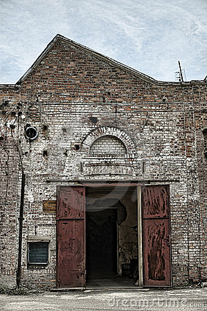 Old building factory and gate in retro style