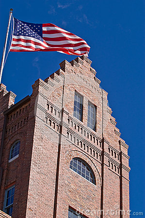 Free Old Building Flying The American Flag Stock Photos - 29921123