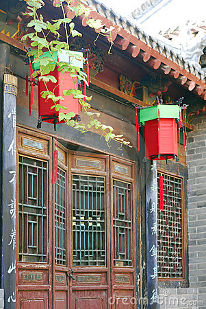 Old building and lanterns  of ancient city