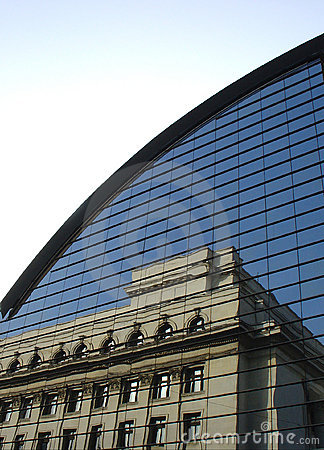 Free Old Building Reflection On A Modern Architecture Structure Stock Image - 103801