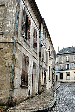 Old Buildings and Houses on Cobblestone Street