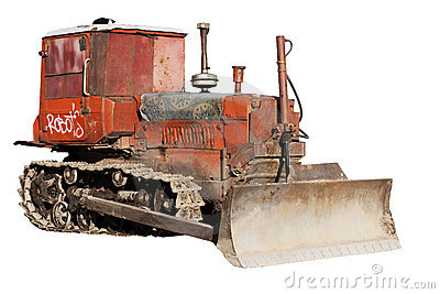 Old bulldozer isolated
