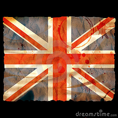 Old burned paper Union Jack -
