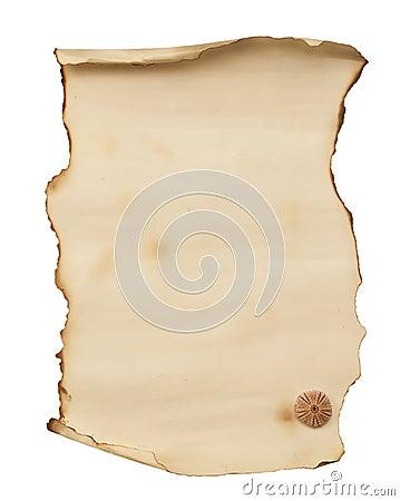 Old burnt paper list