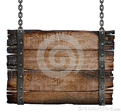Free Old Burnt Wood Sign Board On Chain Royalty Free Stock Images - 34397659