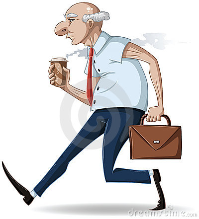 Old Businessman Walks with Briefcase and Coffee