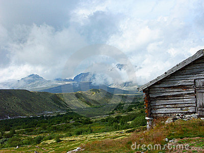 Old cabin in mountains