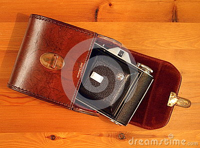 Old camera, with case