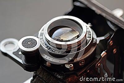 Old camera lens close-up.