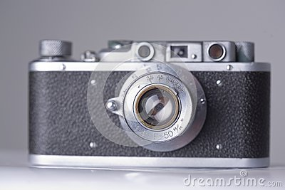 Old camera with scratches and dust, soft focus