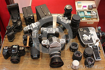 Old cameras Editorial Photography