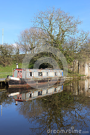 Old canal narrow boat on Lancaster canal, Garstang