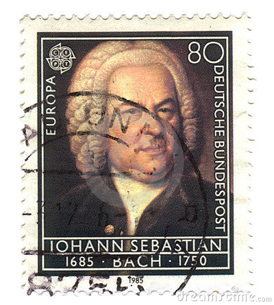 Old canceled german stamp with iohann sebastian Editorial Photo