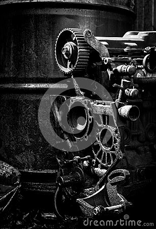 Old car engine, black and white photo