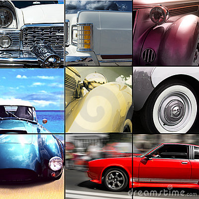 Old car exterior details collage