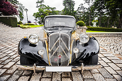Old car. Frontal view Editorial Stock Photo