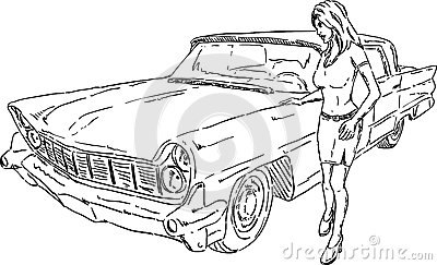 Old car and girl